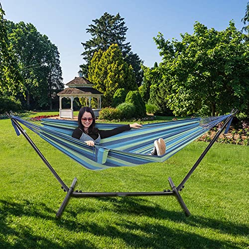 ONCLOUD Double Hammock with Stand 9ft Space Saving Steel Stand Includes Cup Holder,Two Pillows,Portable Carrying Case Blue
