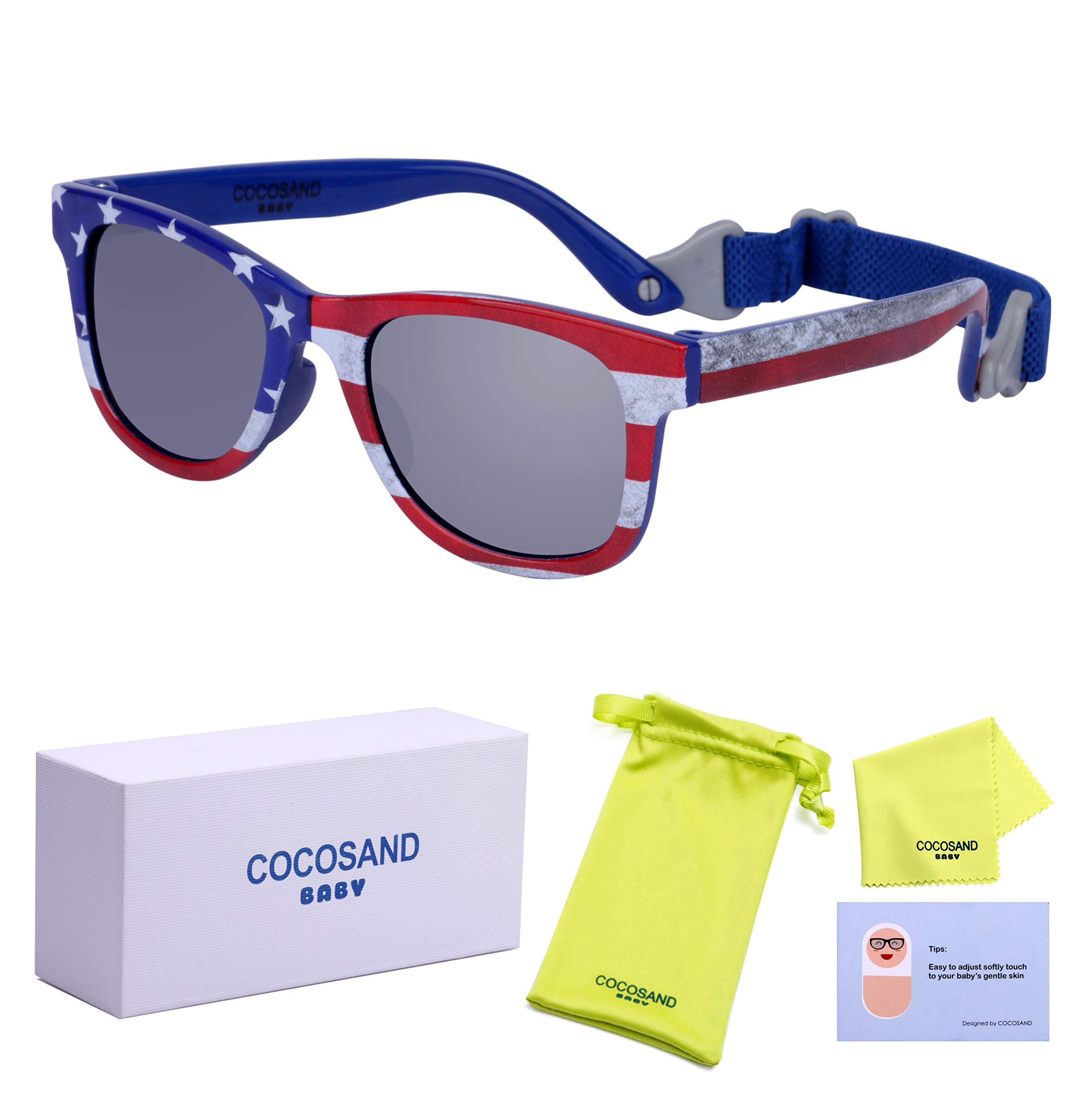 American USA flag Baby boy Toddler Sunglasses with TPE Frame & Mirror UV400 Lens & Adjustable Neoprene Straps by COCOSAND