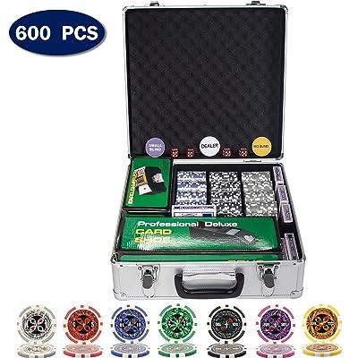 Display4top Juego de Póquercon Láser 12 Gramos Núcleo de Metal, Barajador automático de Cartas, Zapato de Reparto, Distribuidor, ciega Pequeña, Big Blind Buttons y 5 Dados (600 Chips): Juguetes y juegos