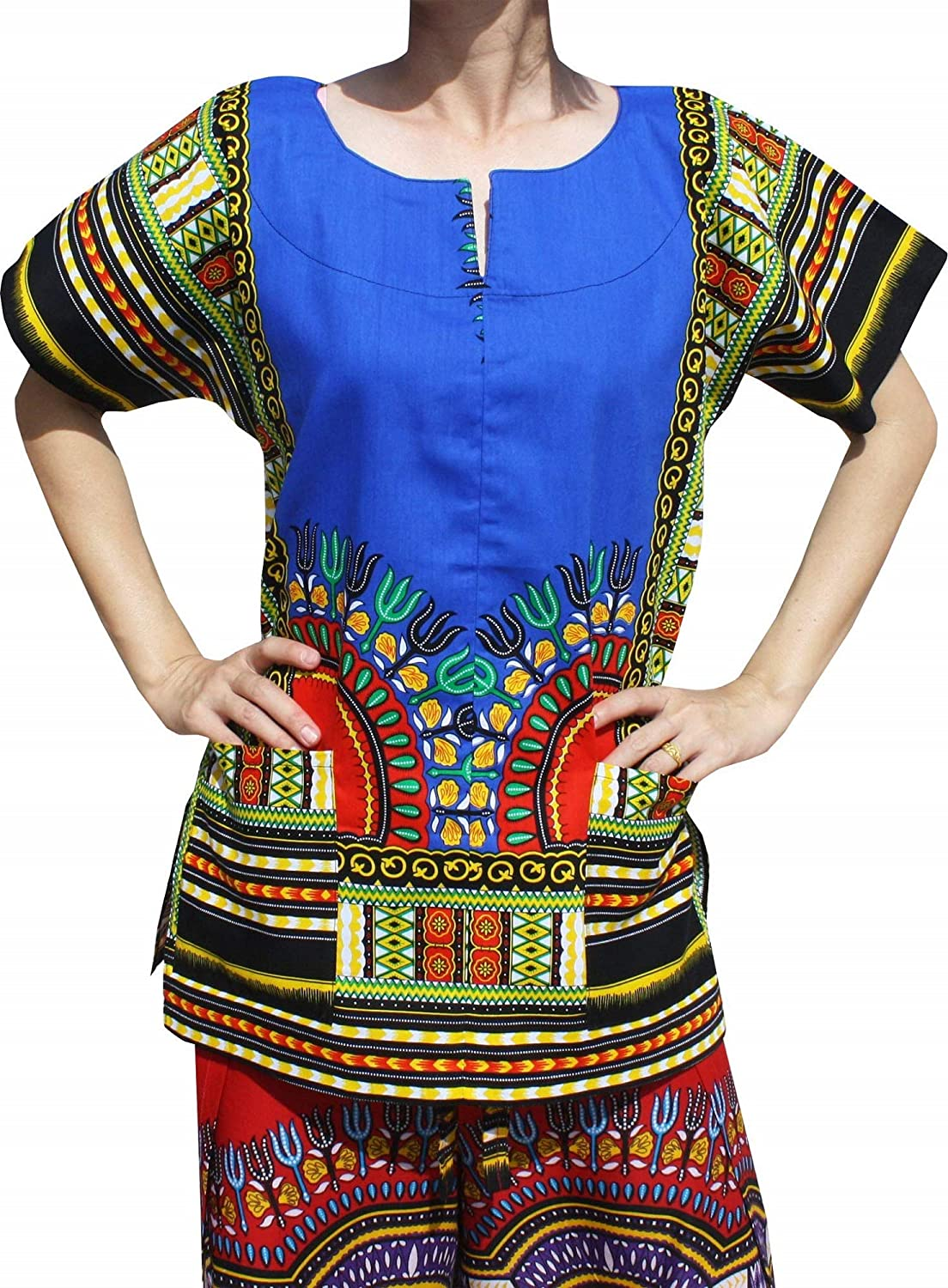 Pantone bluee RaanPahMuang Front Split African Dashiki Traditional Cotton Shirt Two Pockets