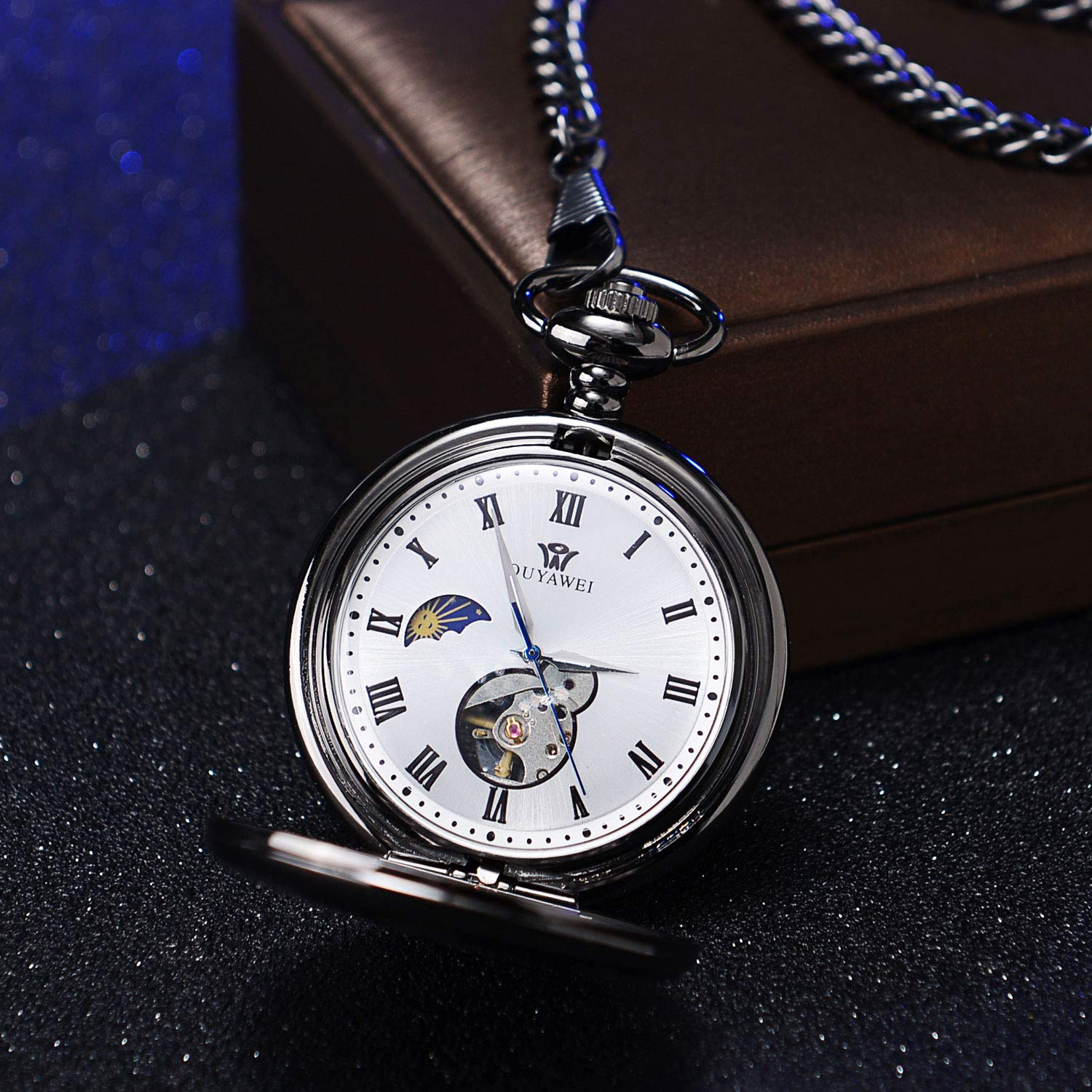 Mens Engraved Gifts for Valentine's Day, Anniversary Birthday Graduation Christmas Personalized Mechanical Pocket Watch with Gift Box (The Day I met You) by Ginasy (Image #6)
