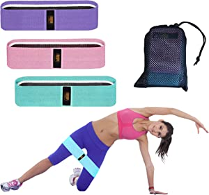 DMY Resistance Bands for Legs and Butt Exercise Bands - Non Slip Elastic Booty Bands, 3 Levels Workout Fabric Bands Women Sports Fitness Band for Squat Glute Hip Training