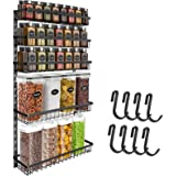 Wall Mount Spice Rack Organizer, 5 Tier Height-Adjustable Hanging Spice Rack Storage for Kitchen Pantry Cabinet Door, Dual-Us