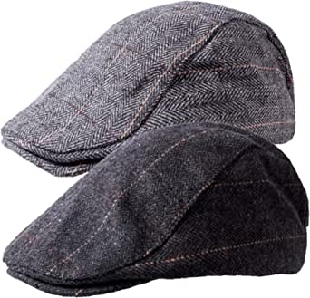 2 Pack Newsboy Hats for Men Classic Herringbone Tweed Wool Blend Flat Cap Ivy Gatsby Cabbie Driving Hat