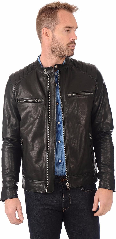 Fab Leather Mens Lambskin Leather Original Leather Bomber Biker Jacket
