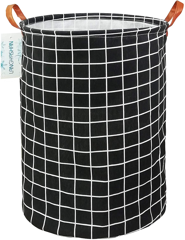 LANGYASHAN Large Storage Bin,Ramie Cotton/Canvas Fabric Folding Storage Basket with Handles- Toy Box/Toy Storage/Toy Organizer for Boys and Girls - Laundry Basket/Nursery Hamper (Black Grid)