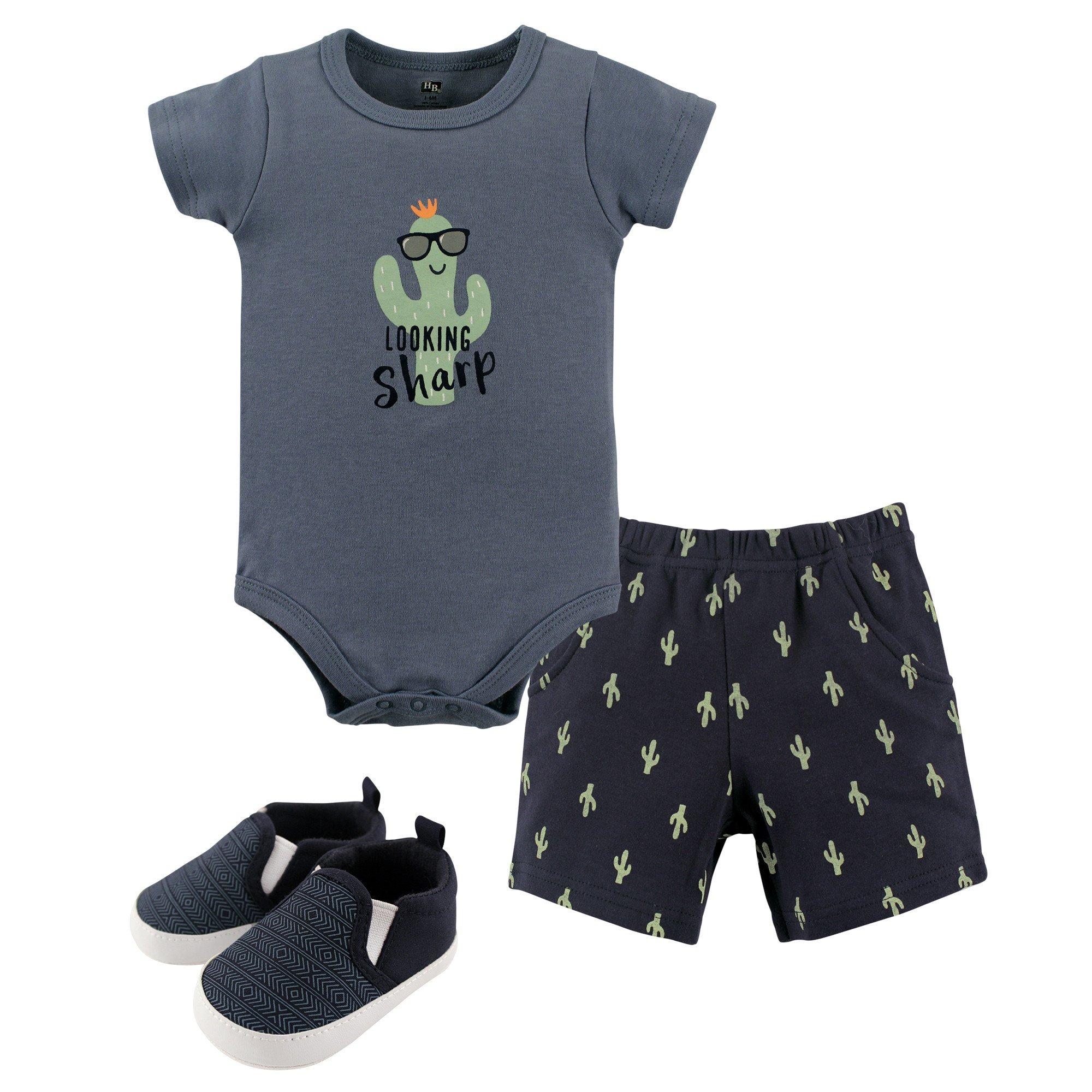 Hudson Baby Cotton Bodysuit, Bottoms and Shoe Set, Cactus, 6-9 Months (9M)