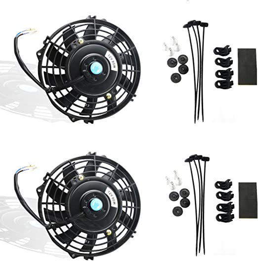 Set of 2 10 Inch MOSTPLUS Black Universal Electric Radiator Slim Fan Push//Pull 12V Mounting Kit