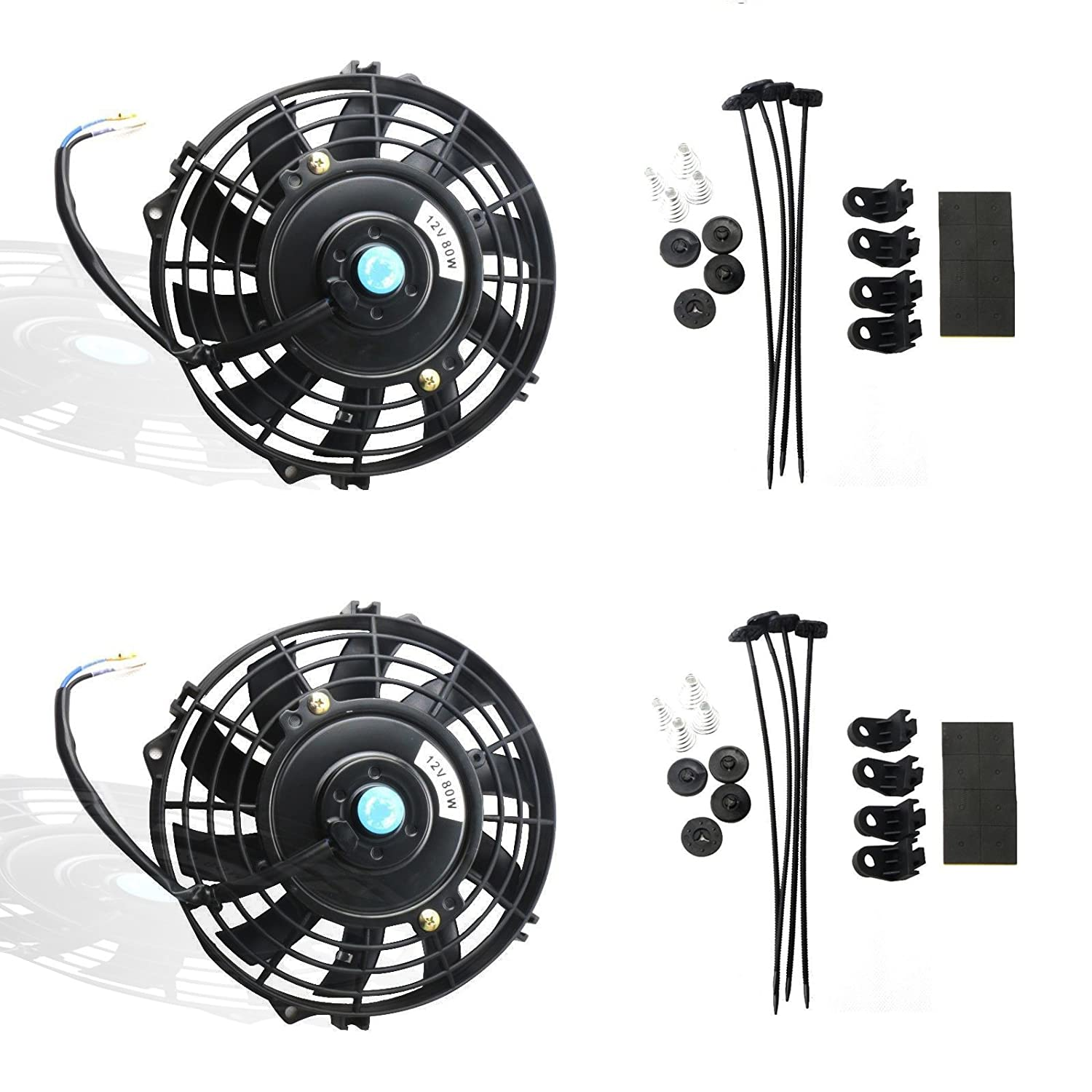 MOSTPLUS Black Universal Electric Radiator Slim Fan Push/Pull 12V + Mounting Kit(7 Inch) Set of 2