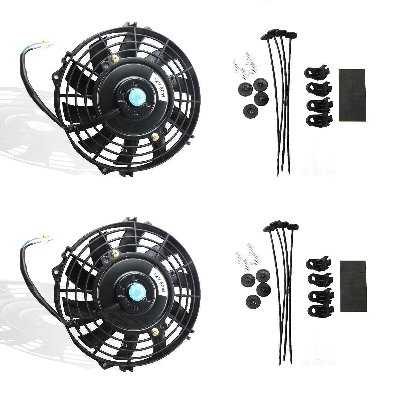 MOSTPLUS Black Universal Electric Radiator Slim Fan Push/Pull 12V + Mounting Kit(7 Inch) Set of 2