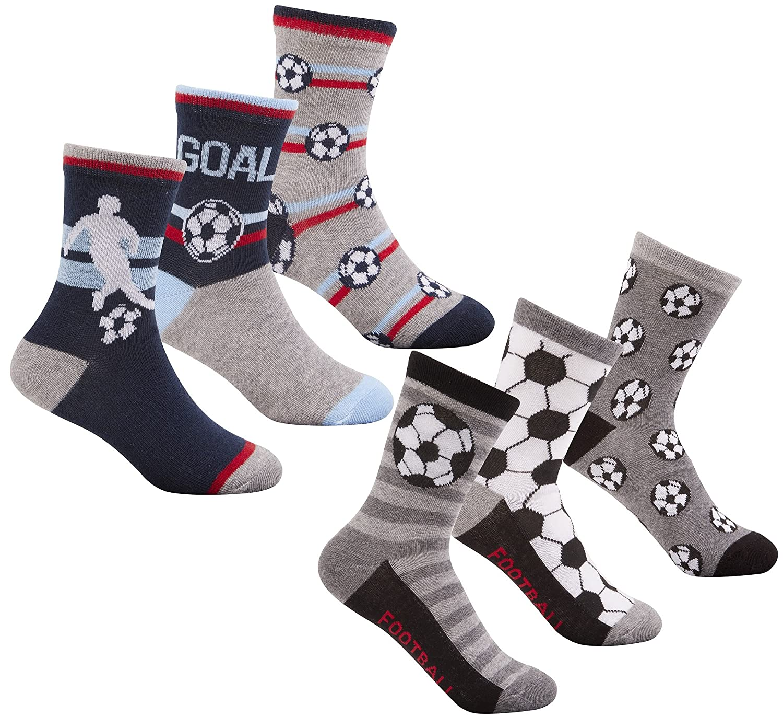 Zest Boys Cotton Rich Football Themed Short Socks