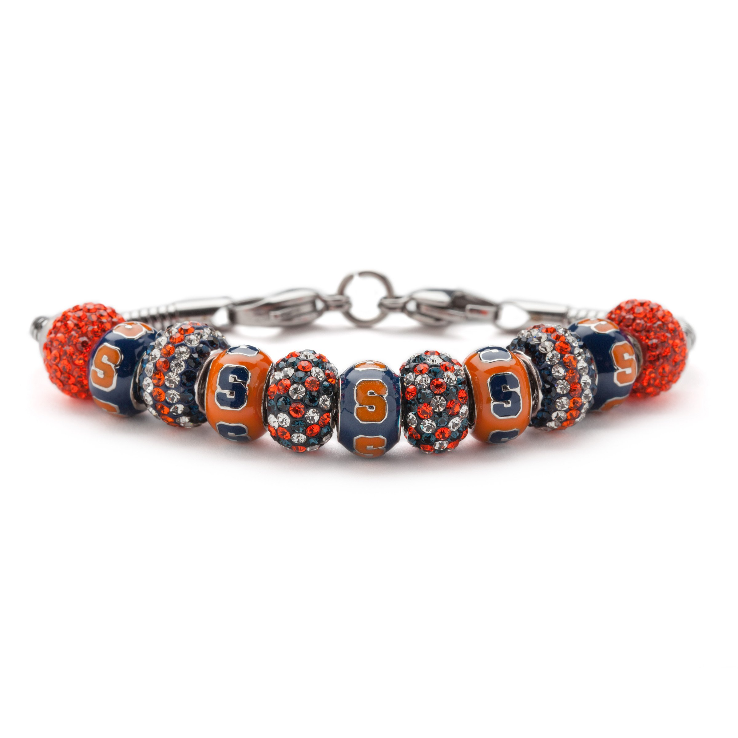Syracuse University Bracelet | SU Oranges Bracelet - 5 S Beads and 6 Crystal Charms | Officially Licensed Syracuse University Jewelry | SU Gifts | Syracuse Charms | SU Charms | Stainless Steel