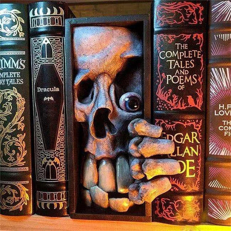 HAIFENGDA Peeping on The Bookshelf Monster Bookends Decorative, Lifelike 3D Monster Bookshelf Decor, Personalized Resin Horror Decor Statue, Decorative Bookends Home Office Library Bookshelf-D