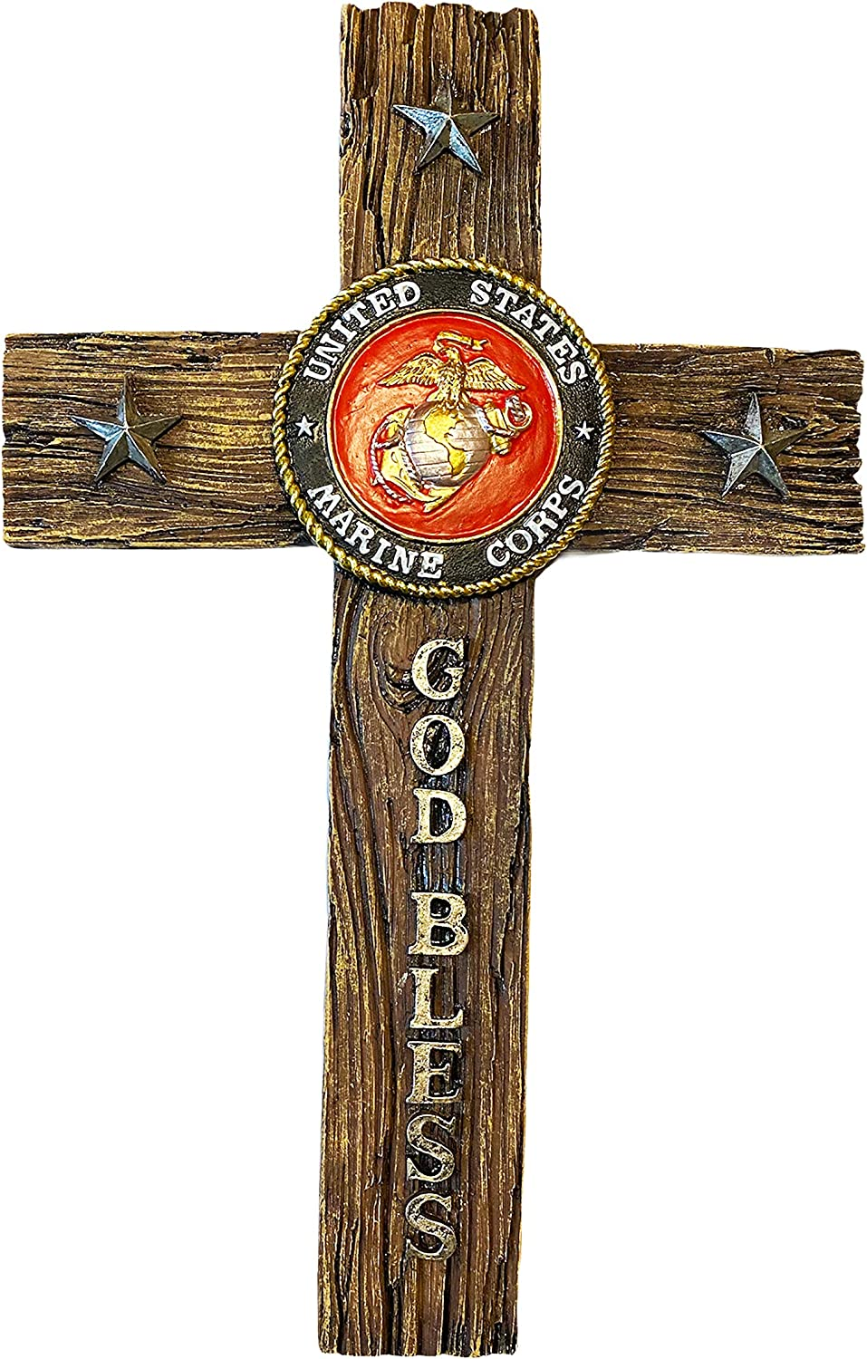 Urbalabs Nutrition USMC United States Marines Wall Hanging Decor Cross 12 inch God Bless Marine Corps Symbol Design Home Cross Decor Stars and Stripes Support Our Troops (12 Inch, USMC God Bless)