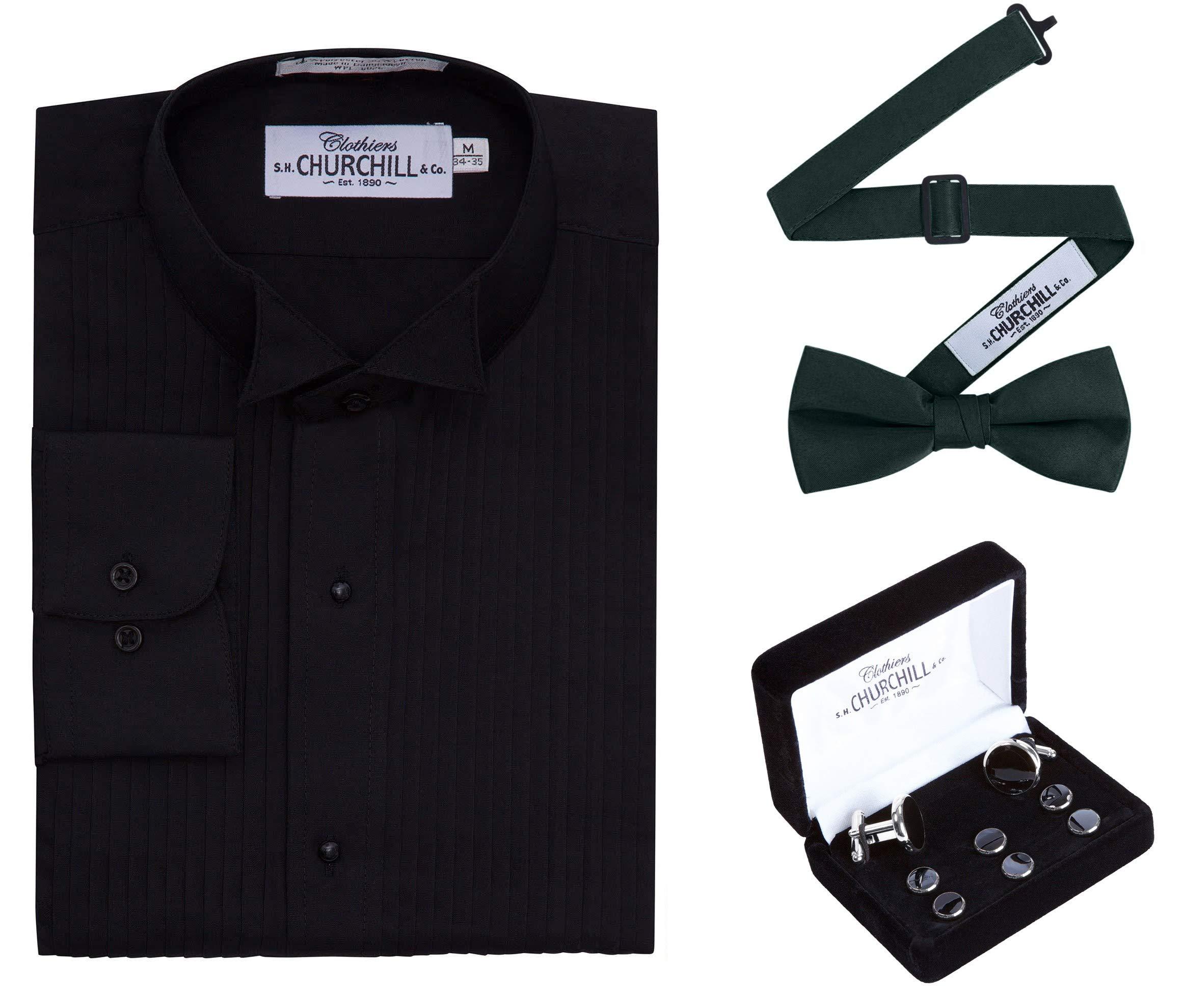 Men's Black Wing Tux Shirt, Hunter Bowtie & Silver Stud Set (14 32/33) by S.H. Churchill & Co.