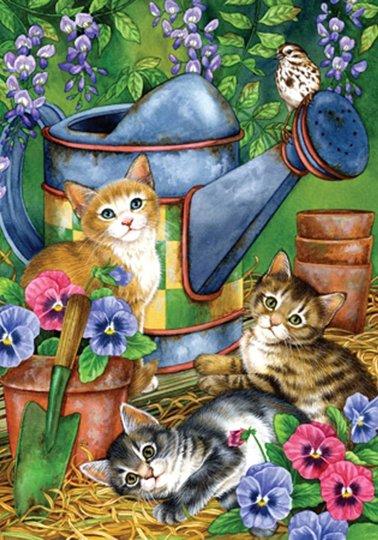 Toland Home Garden Garden Kitties 12.5 x 18 Inch Decorative Spring Summer Kitty Cat Pansy Watering Can Garden Flag
