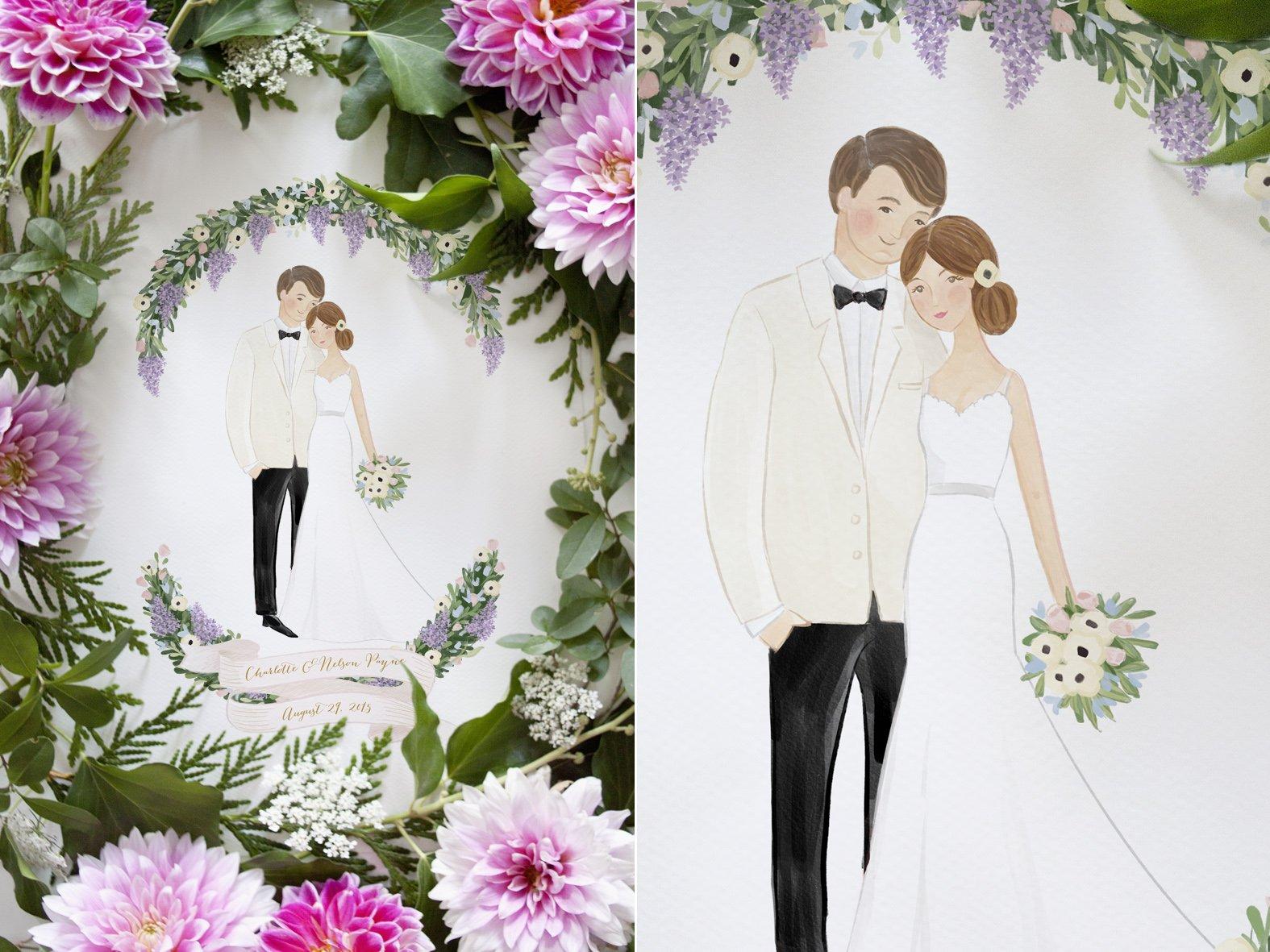 Custom Couple Illustration Valentine Wedding Engagement Anniversary Gift Idea by Belle Pivoine