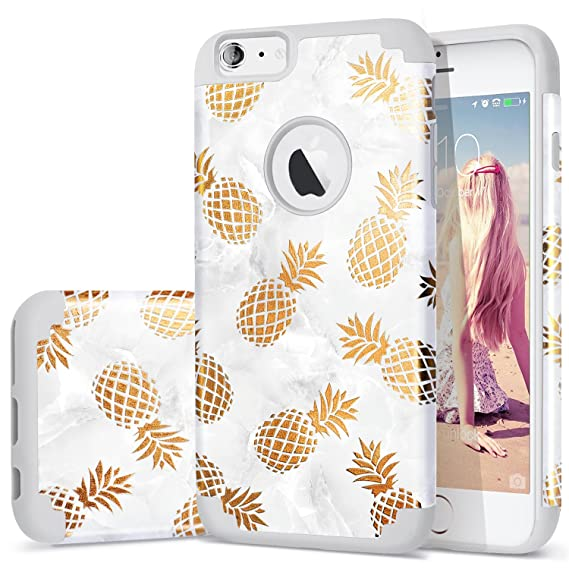 buy online 17dda 5c058 iPhone 6s Plus case,iPhone 6 Plus Case Pineapple,Fingic Golden  Pineapple&Grey Marble Pattern Case Hard PC Soft Silicone Skin Cover for  iPhone 6/6s ...