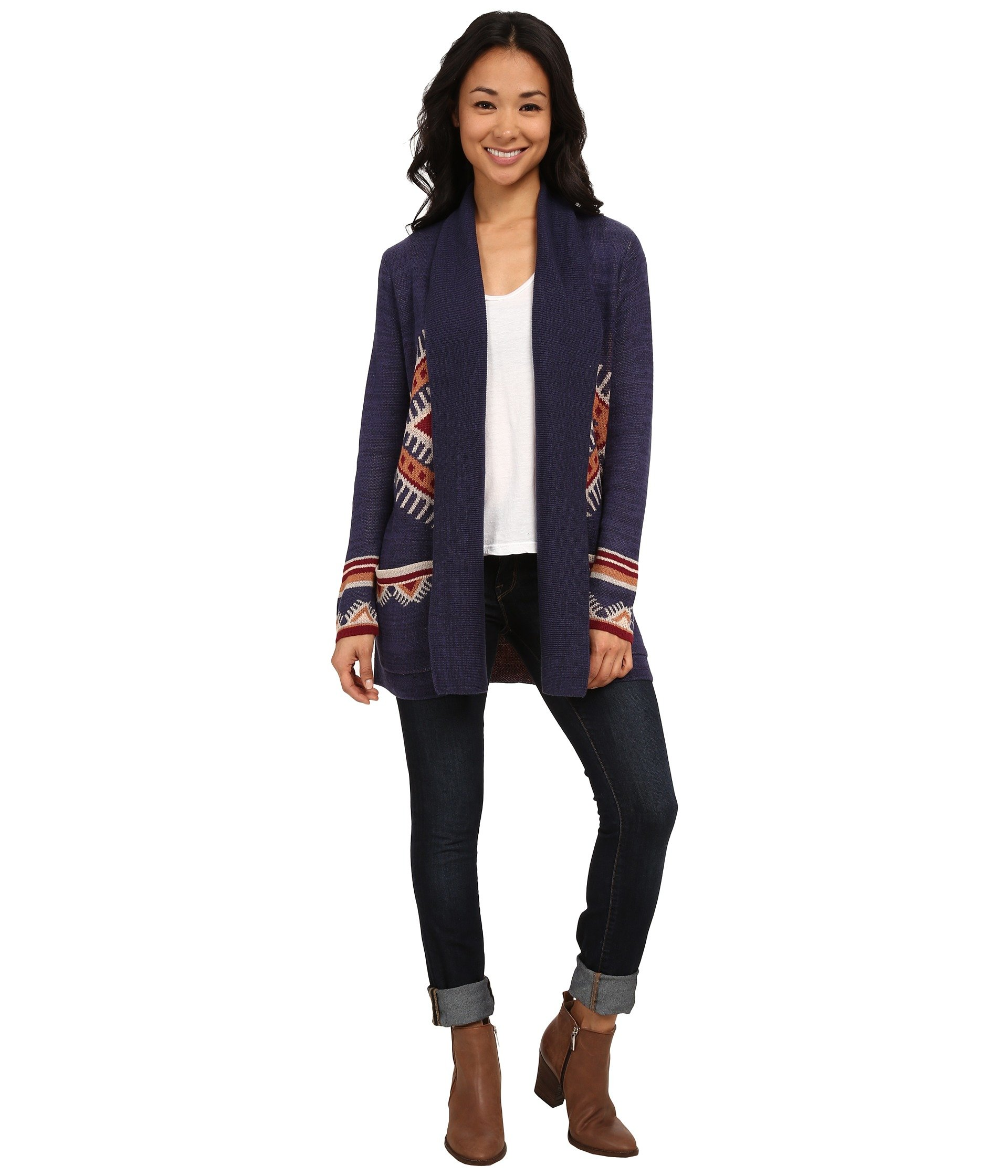 Billabong Junior's Winter Solstice Printed Cardigan Sweater, Midnight, Medium