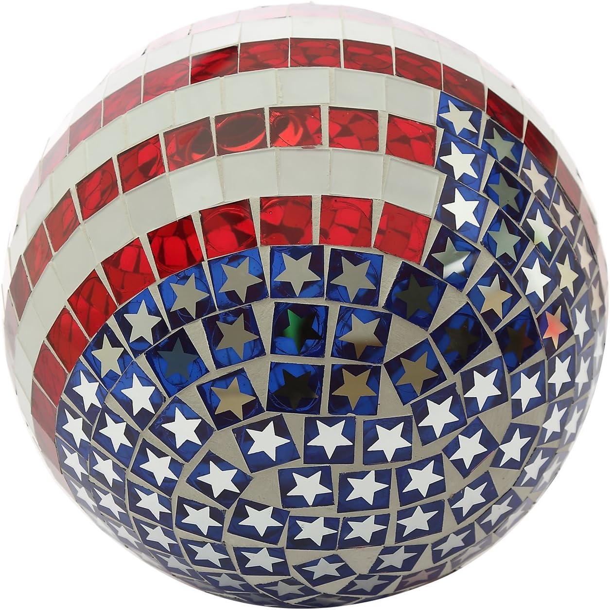 Echo Valley 1776 10-Inch Patriotic Glass Mosaic Gazing Globe Stars and Stripes