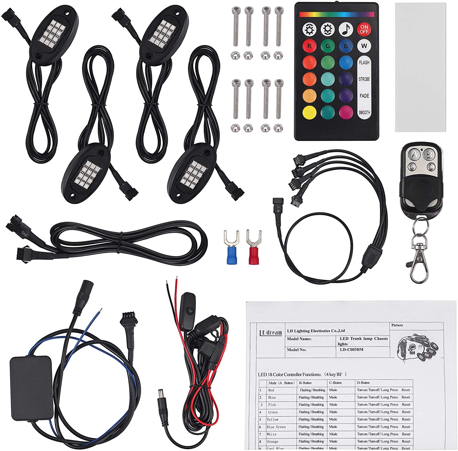 Justech 4 Pods RGB LED Rock Light Kits Multicolor Underglow Neon Light Kit with Extension Cord and Double Wireless RF Controllers for Truck ATV SUV Car Boat Motorcycle