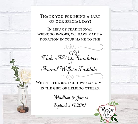 Amazon In Lieu Of Wedding Favors Charity Donation Wedding Sign