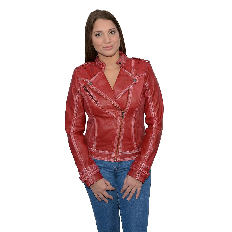 Milwaukee Leather Women's Sheepskin Asymmetrical Moto Jacket With Studding (Red, 2X-Large), 1 Pack