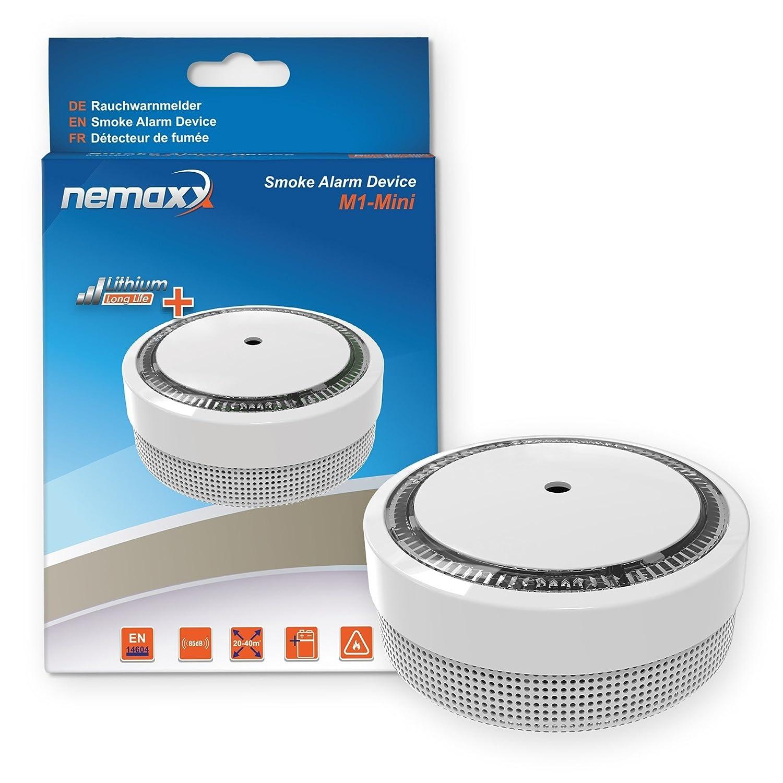 20x Nemaxx Detector de Humo M1-Mini sensibilidad ftoeléctrica - con batería de Litio Tipo DC3V - Conforme la Norma DIN EN14604 & VDS - Blanco + NX1 Pad de ...