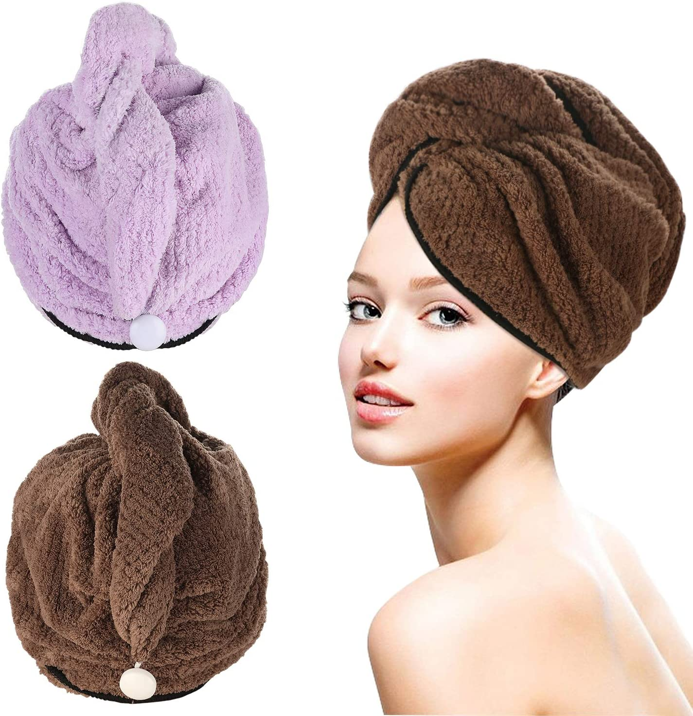 Tencoz 2Pack Towel Turbans with Superfine Fiber Soft Microfiber Ultra Absorbent Dry Hair Cap – Brown and Purple DOWN TO £5.99 w/code TU52WZPS @ Amazon