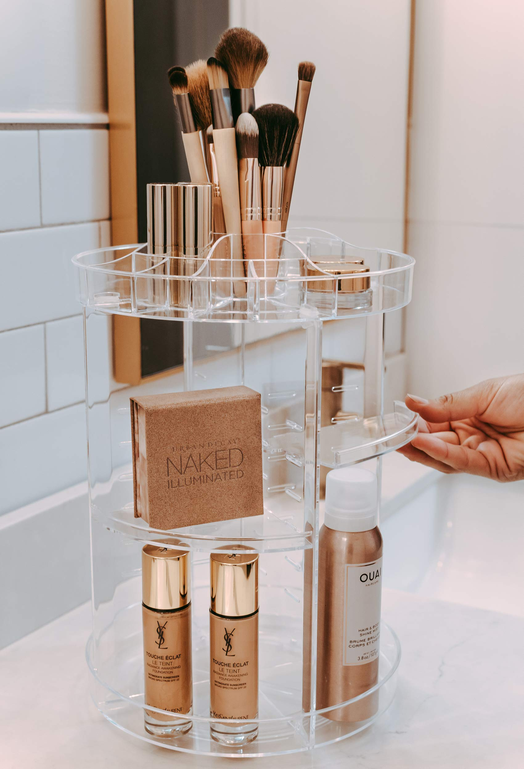 Beauty Shopping Makeup Organizer by Tranquil Abode | Adjustable, Spinning Storage for Skincare, Perfume,