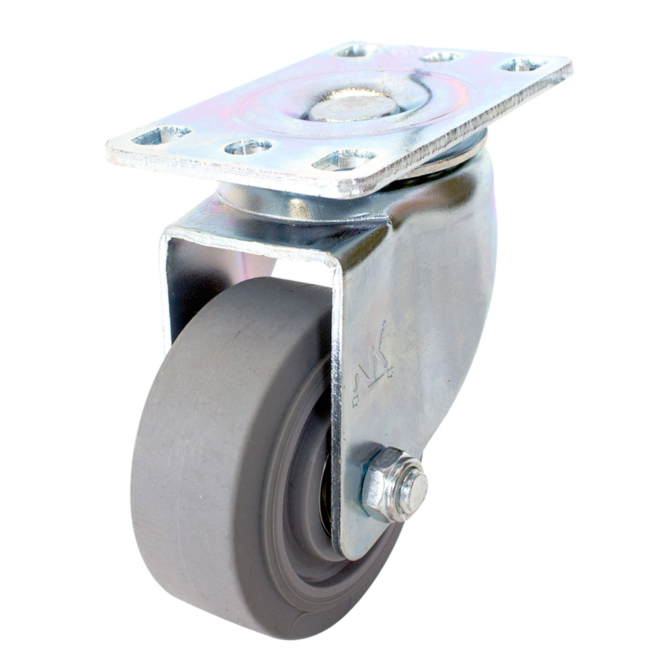 NK CTPR3SS Swivel Plate Caster with Non Marking Soft Gray Rubber TPR Wheel (3 -Inch, Swivel Caster)