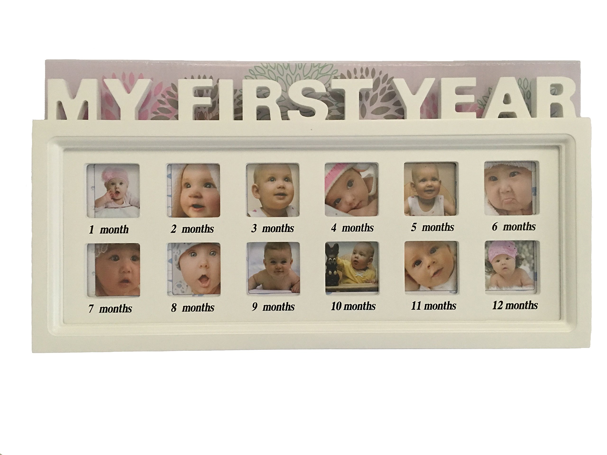 GMissT Wooden Baby My First Year Wall Hanging Photo Frame 12 Pictures