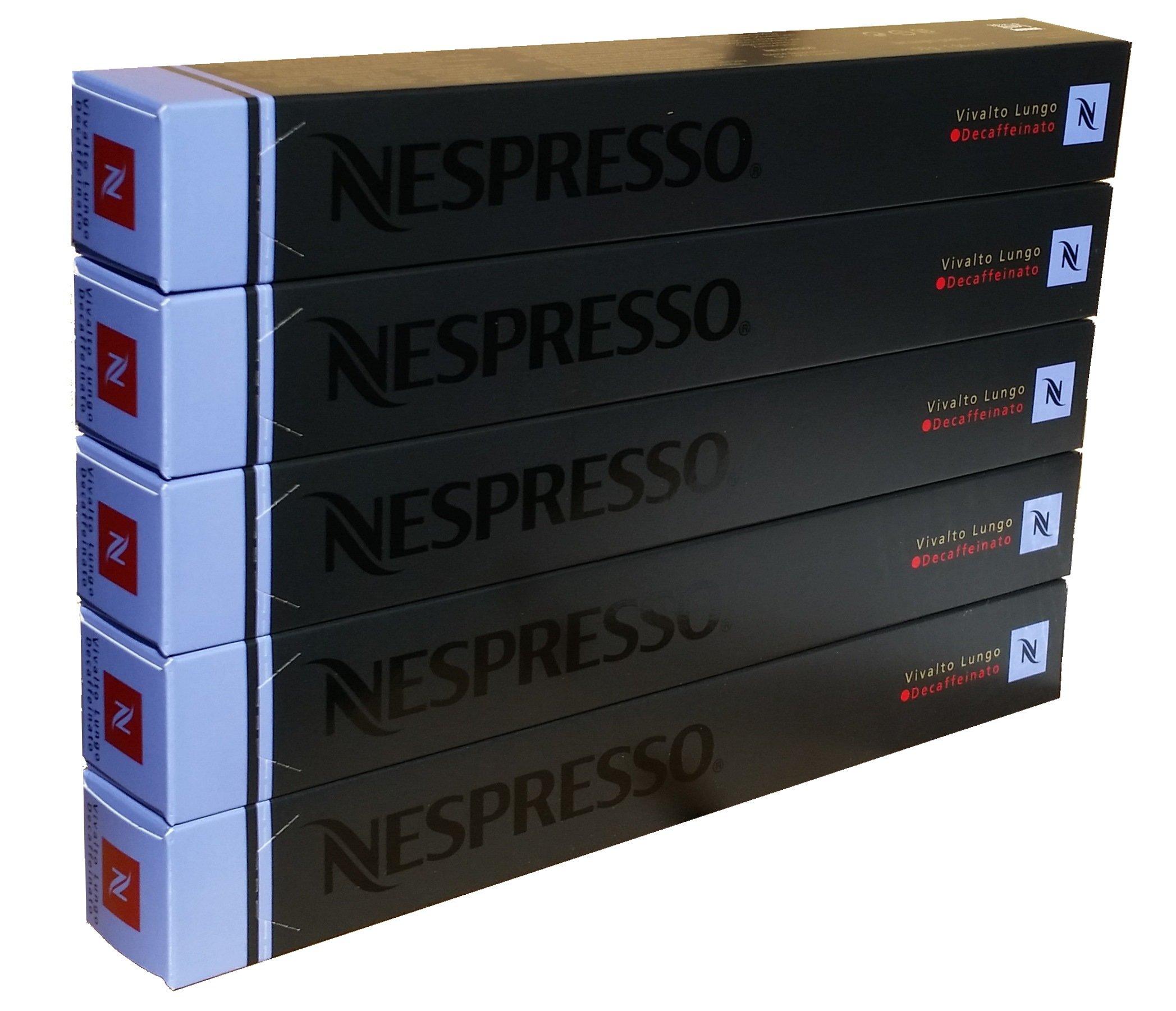 Nespresso OriginalLine - Vivalto Lungo Decaffeinato, 50 Capsules, 5 Sleeves - New Decaf variety - ''NOT compatible with Vertuoline''