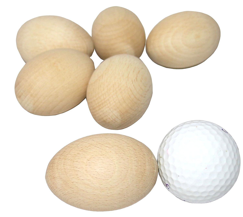 Uova in legno di faggio realizzate a mano, Natural Beech Wood, 6x4cm |2.4x1.6 6x4cm |2.4x1.6 DB Gardentools