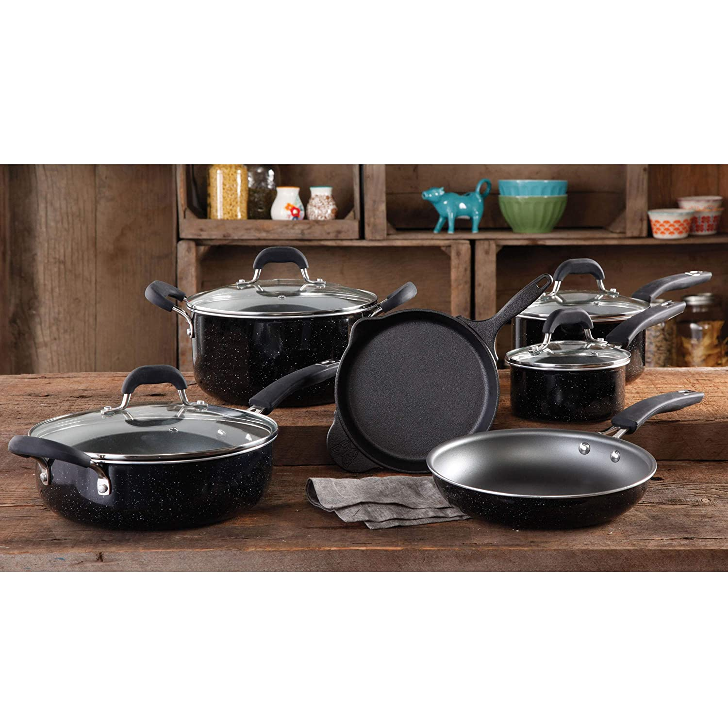 The Pioneer Woman Vintage Speckle 10-Piece Non-Stick Pre-Seasoned Cookware Set, Black
