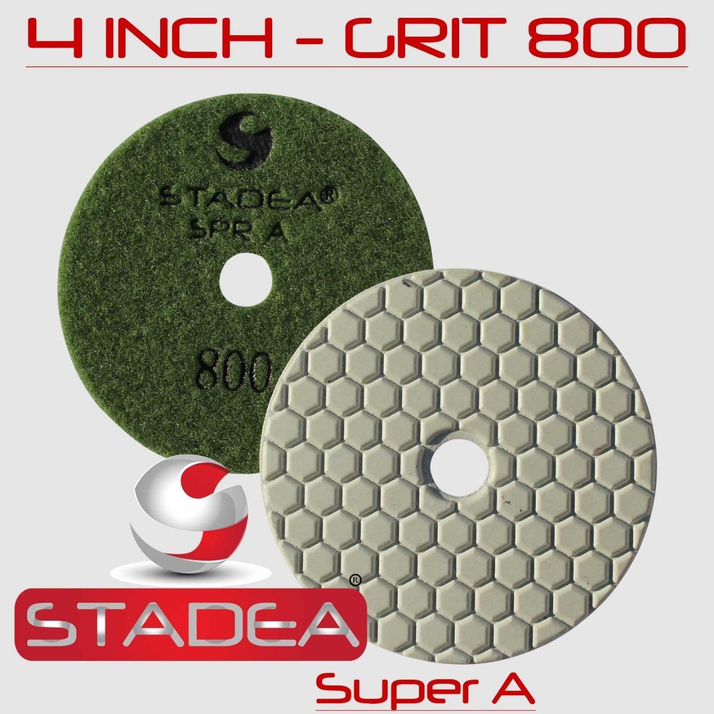STADEA 4'' Dry Diamond Polishing Pads for granite Marble Concrete Stone Granite Tile Polishing Kit - 5 Pcs Pads, 1 Rubber Backer (5/8'' 11) Set by STADEA (Image #7)