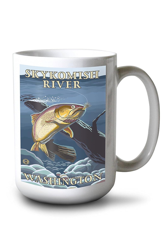 Trout Fishing cross-section – Skykomish川、wa 15oz Mug LANT-3P-15OZ-WHT-14060 B077RX956Z  15oz Mug