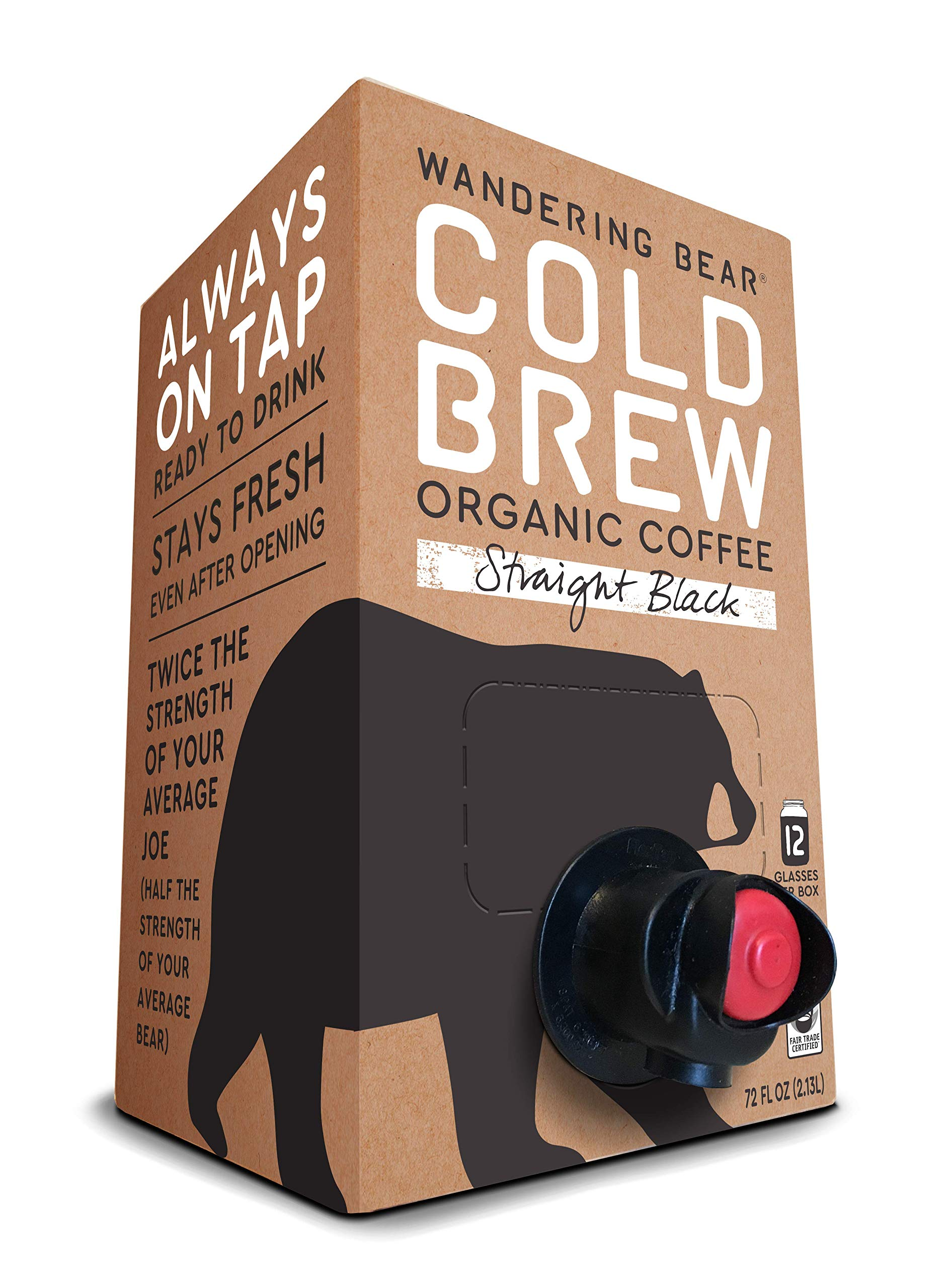 Wandering Bear Organic Cold Brew Coffee On Tap, Straight Black, No Sugar, Always Fresh and Ready to Drink, Not a Concentrate, 72 fl oz by Wandering Bear