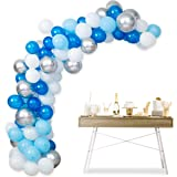 Balloon Arch Kit Garland Decorations - 104 pcs Latex Blue White Silver Balloons 16ft, Oh Baby Theme, Bridal Shower…
