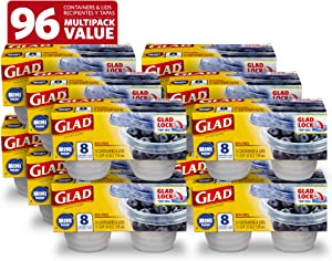 Glad Food Storage Containers, 8 Count (Pack of 1), Standard, 12