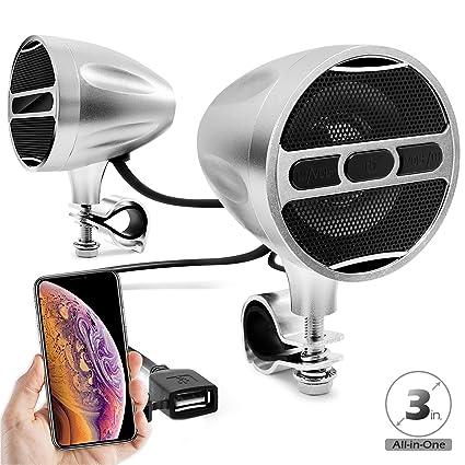 GoldenHawk RE9-X Waterproof Bluetooth Wireless Motorcycle Stereo Speakers 7//8-1.25 in USB AUX-in Handlebar Mount MP3 Music Player Audio Amplifier System Scooter Bike ATV UTV FM Radio