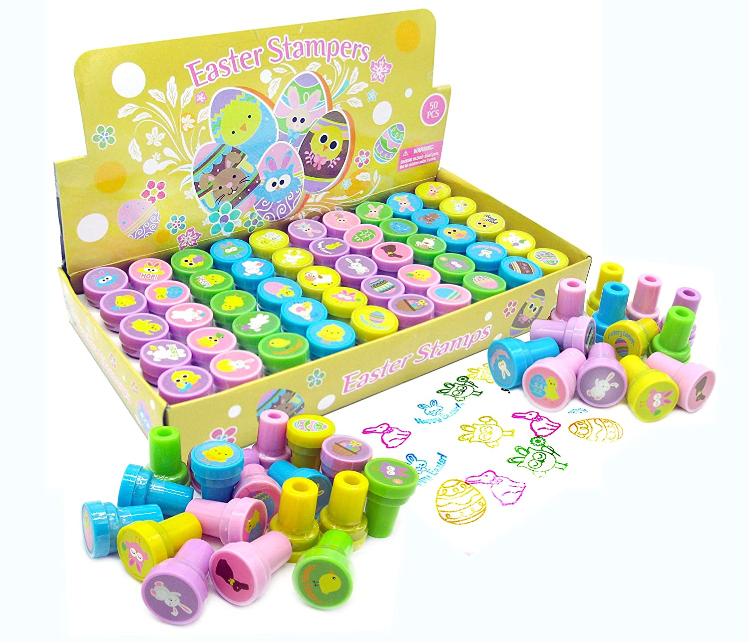 TINYMILLS 50 Pcs Easter Assorted Stampers for Kids