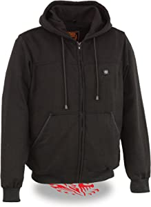 Milwaukee Performance - Men's Zipper Front Black 12V Heated Hoodie W/Front & Back Heating Elements | Cotton Exterior W/Thermal Inside Lining | 3 Core Heating Zones | Battery Pack Included (Large)