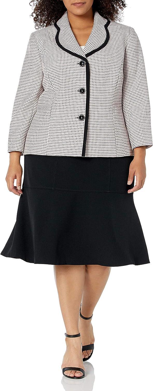 Le Suit Women's Plus Size 3 Novelty Columbus Mall Button Excellent Skir Collar Notch Dot