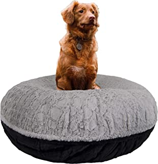 product image for BESSIE AND BARNIE Signature Serenity Grey/ Black Puma Luxury Extra Plush Faux Fur Bagel Pet/Dog Bed (Multiple Sizes)
