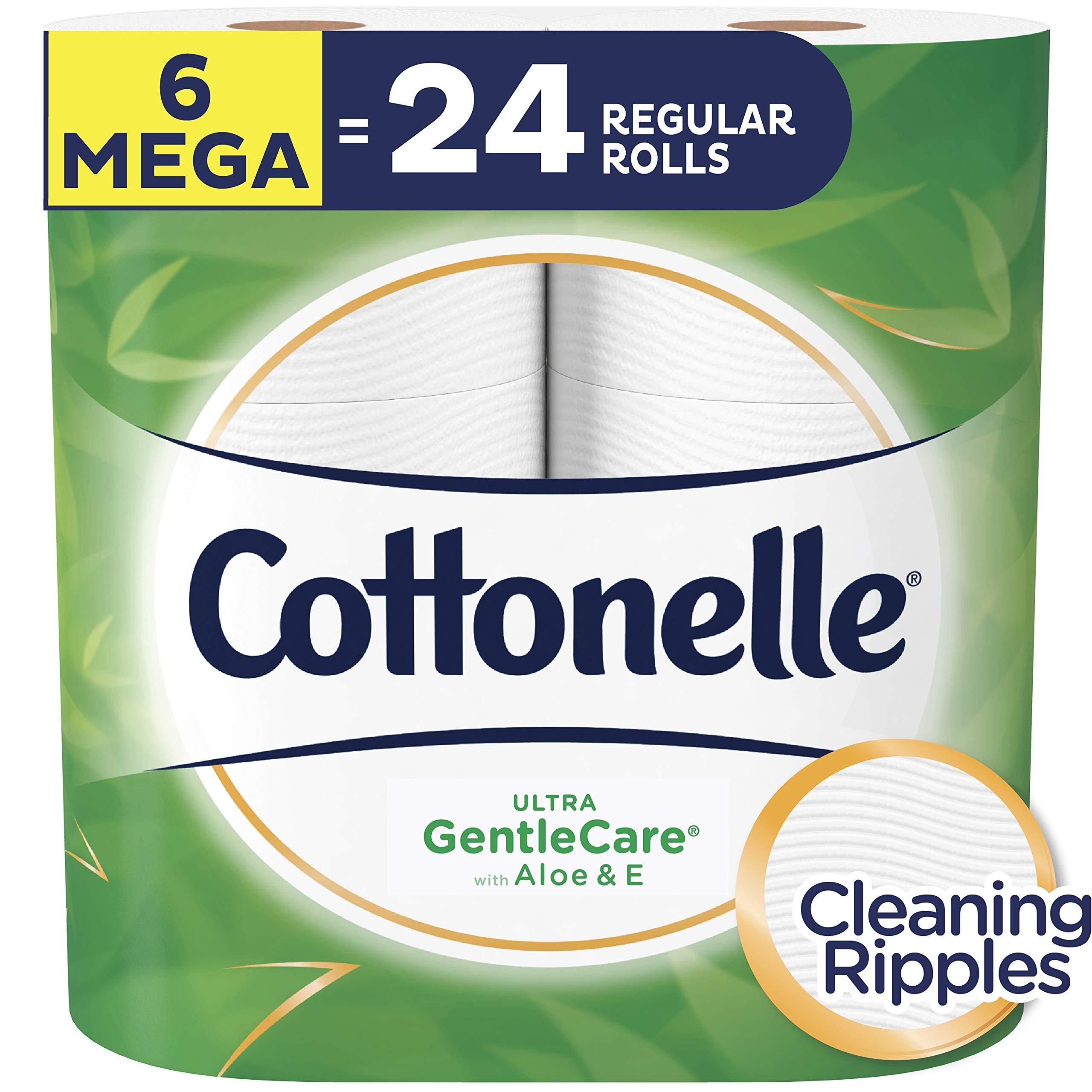 Cottonelle Ultra GentleCare Toilet Paper, 6 Mega Rolls, Sensitive Bath Tissue with Aloe & Vitamin E