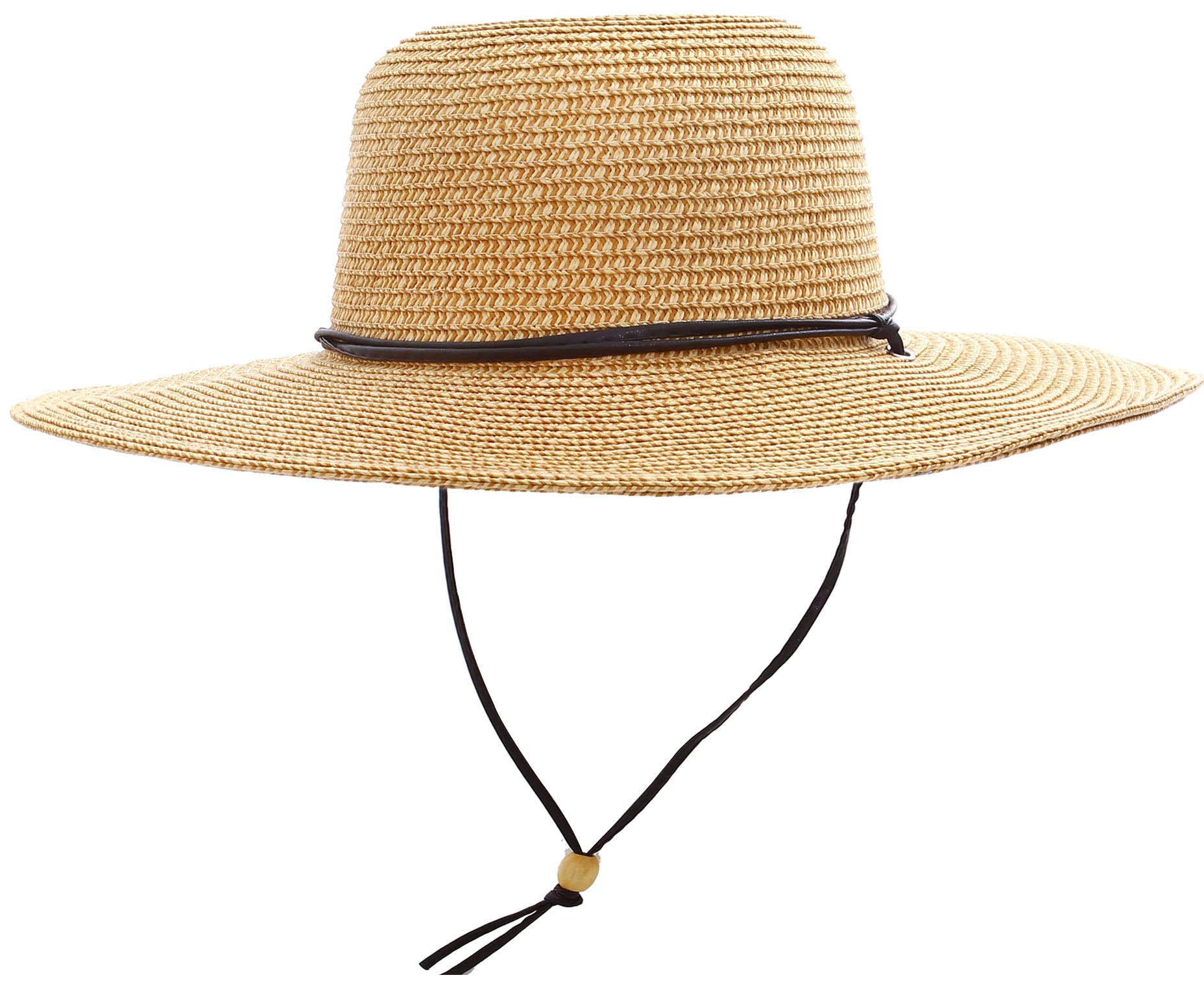 Women's UPF 50+ Wide Brim Braided Straw Sun Hat with Lanyard Natural-Brown by Simplicity