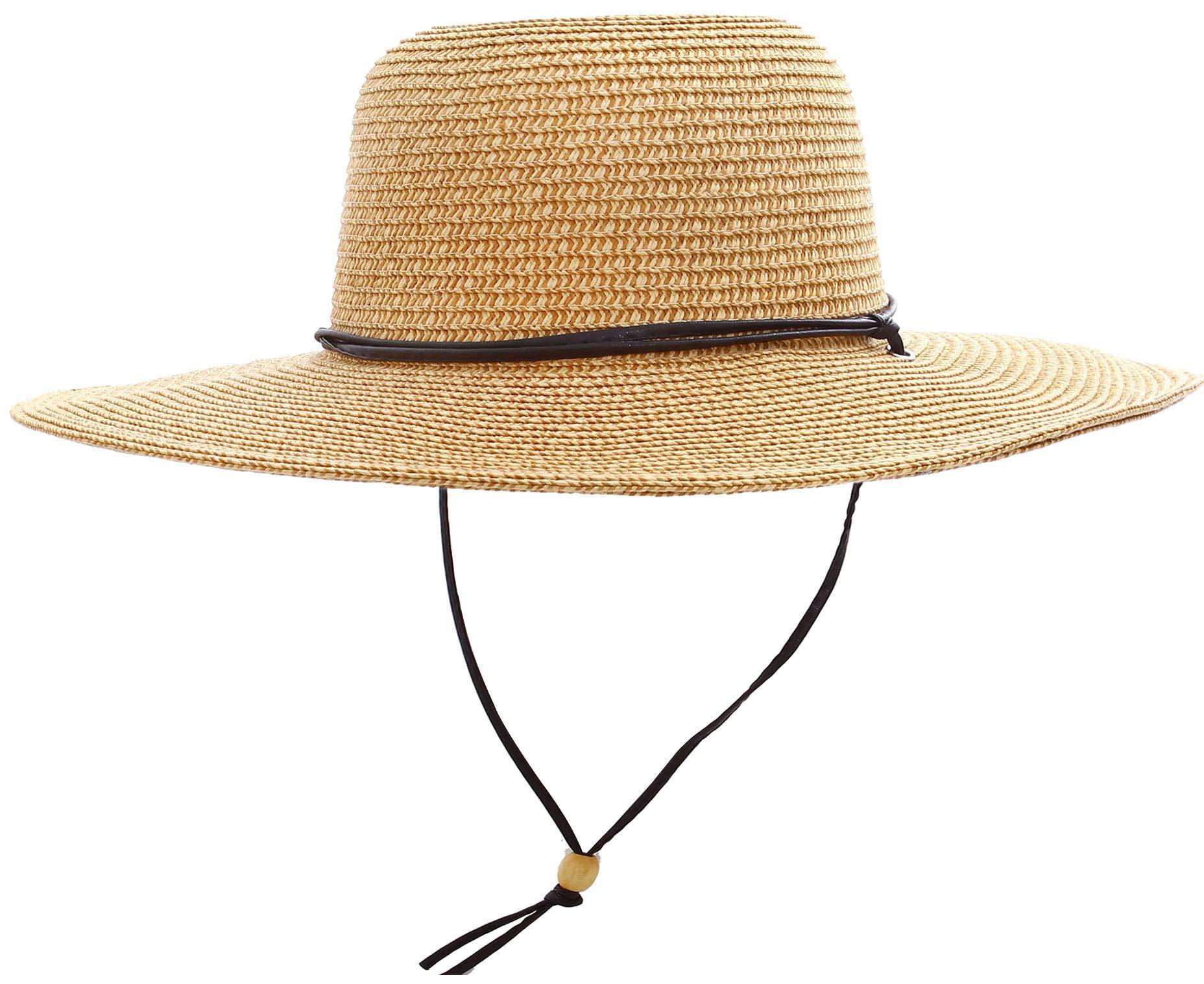 Women's UPF 50+ Wide Brim Braided Straw Sun Hat with Lanyard Natural-Brown