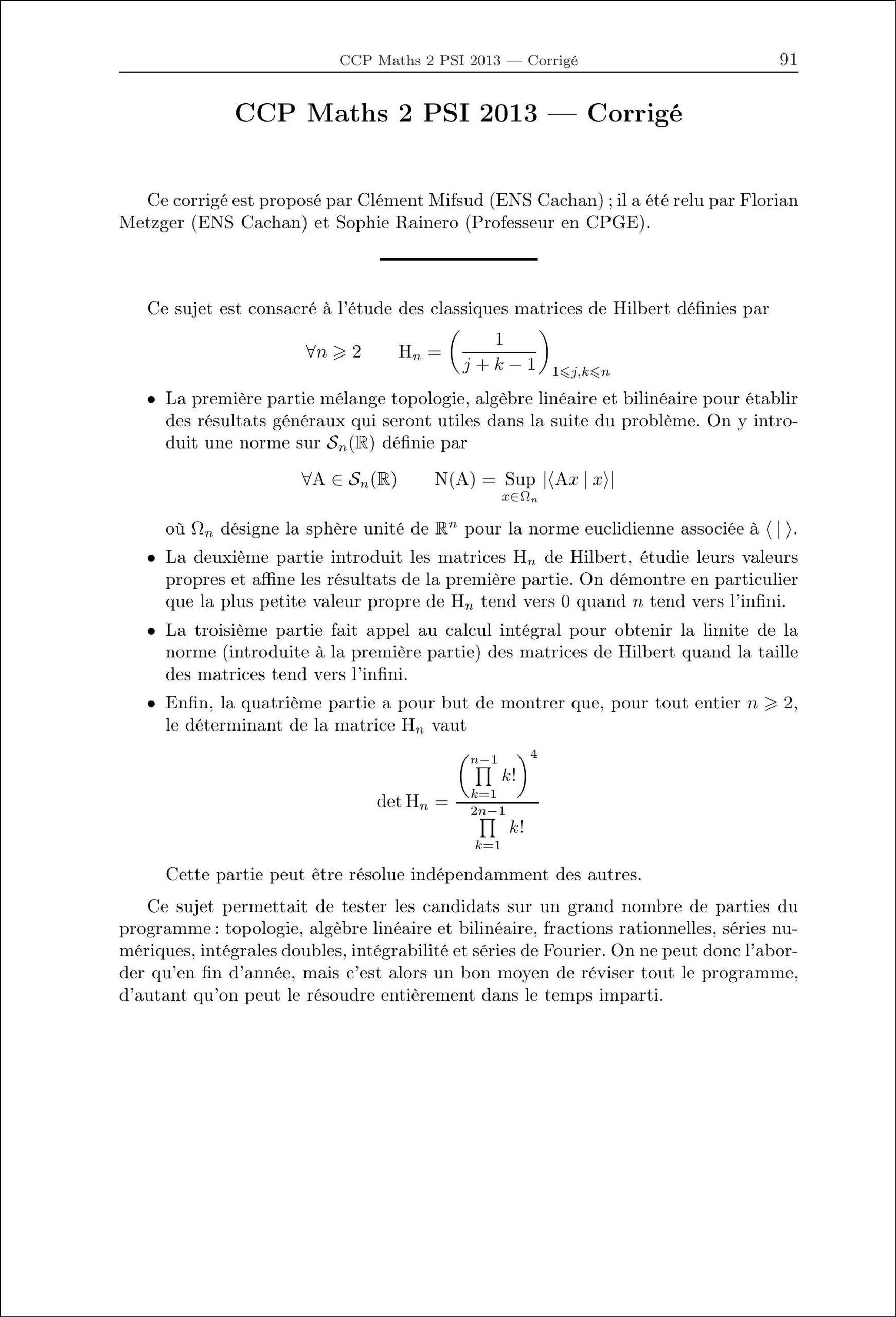 Annales des Concours 2013, PSI Mathématiques, corrigés de Mines, Centrale, CCP, e3a: 9782351412961: Amazon.com: Books