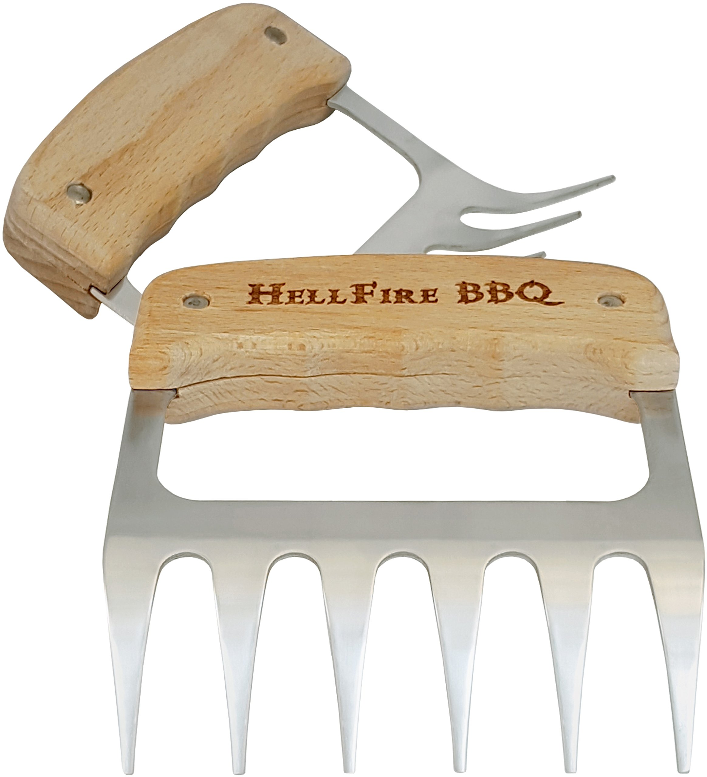 HellFire BBQ Meat Claws - Our Pulled Pork Shredders Feel Like Bear Paws, or Wolverine's Claws Compared to Boring Meat Handlers or Forks - Heat Resistant Stainless Steel Metal - Wooden Handles